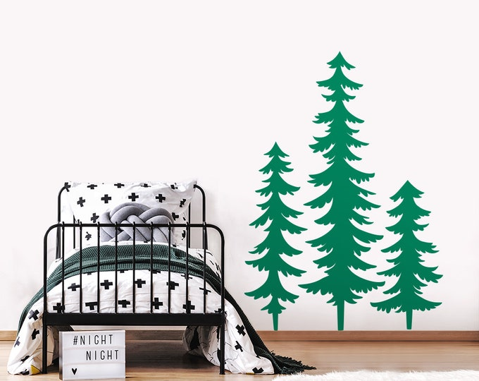 3 Large Pine Tree Forest Wall Decals - Woodland Nursery Decor, Wall Decor, Kids Room Decals, Tree Decals, Nursery Decals, Gifts for Kids