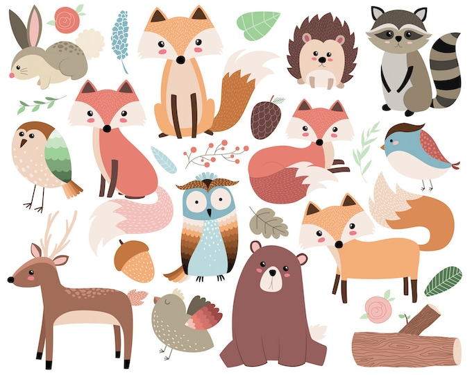 Woodland Forest Animals Clip Art - 26 300 DPI Vector, PNG, & JPG Files - Cute Animal Clip Art, Fox and Critters Illustration