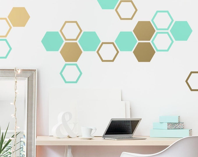 Honeycomb Wall Decals - Hexagon Vinyl Wall Decals, Geometric Wall Decals, Multicolored Decals, Modern Wall Decor
