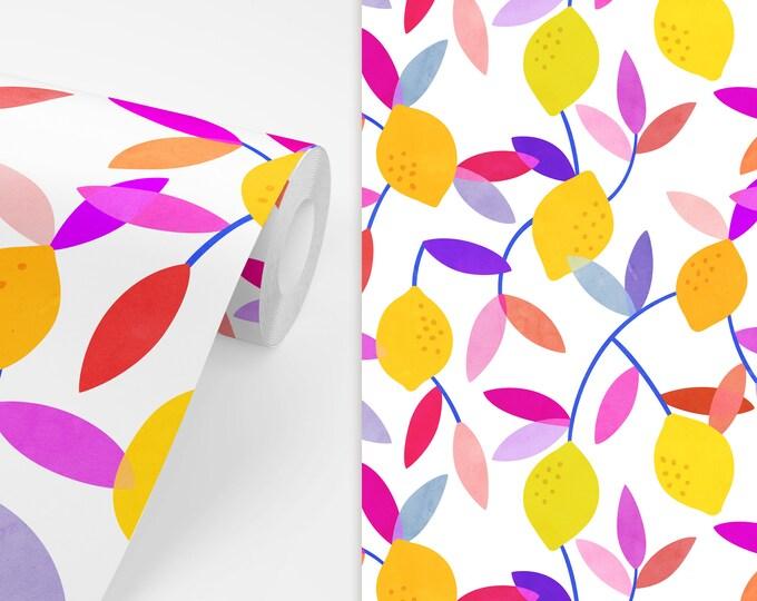 Lemon Floral Wallpaper - Peel and Stick Removable Wallpaper, Bedroom Wall Decor, Floral Pattern Art, Nursery Wallpaper