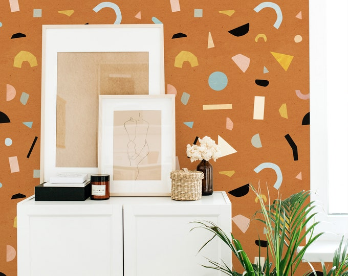 Terrazzo Wallpaper - Peel and Stick Removable Wallpaper, Modern Wall Art, Abstract Geometric Wall Decor
