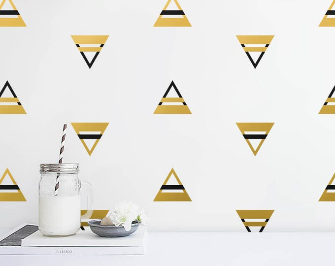 Color Block Triangle Wall Decals - 2 Color Triangle Decals, Nursery Decals, Triangle Decals, Geometric Decals, Modern Decals, Gold Decals