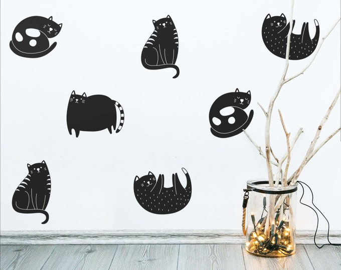 Cat Wall Decals - Modern Wall Decals, Cute Wall Stickers, Removable Wall Decor, Cat Stickers