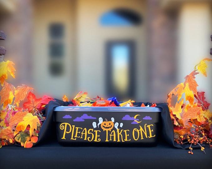 Please Take One Candy Bin Decal -DIY Halloween Candy Bin, Halloween Decor, Candy Dish, Trick or Treat, Trick or Treat Candy Bowl, Treat Bowl