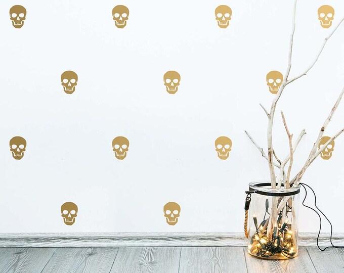 Skull Wall Decals - Halloween Decor, Modern Wall Decals, Cute Wall Stickers, Skull Decals, Gold Decals, Removable Wall Decor, Skull Stickers