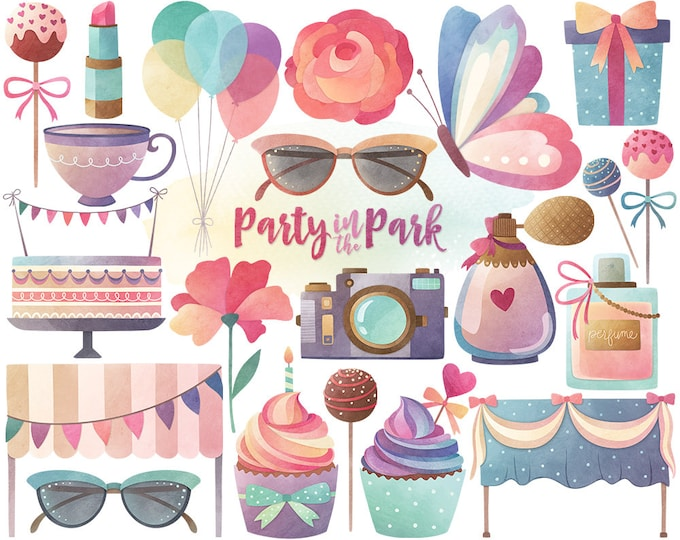 Watercolor Party Clipart - Watercolor Clipart, Party Clipart, Cute Clip Art Set, Digital Watercolor Printables, Spring Clipart