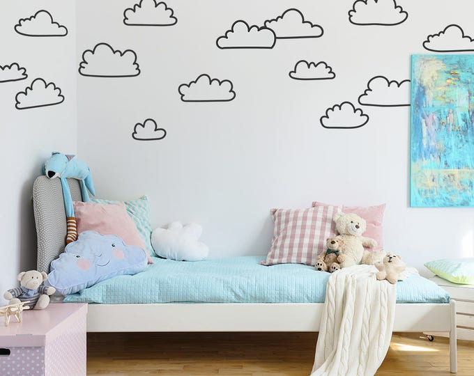 Sketched Cloud Wall Decals - Hand Drawn Cloud Decals, Nursery Wall Decals, Vinyl Wall Decals, Kids Bedroom Decals, Cute Cloud Wall Stickers