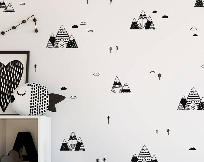 Mountain Wall Decals - Scandinavian Style Decals, Tree Decals, Cloud Decals, Vinyl Wall Decals, Nursery Wall Decals, Kids Bedroom Decals