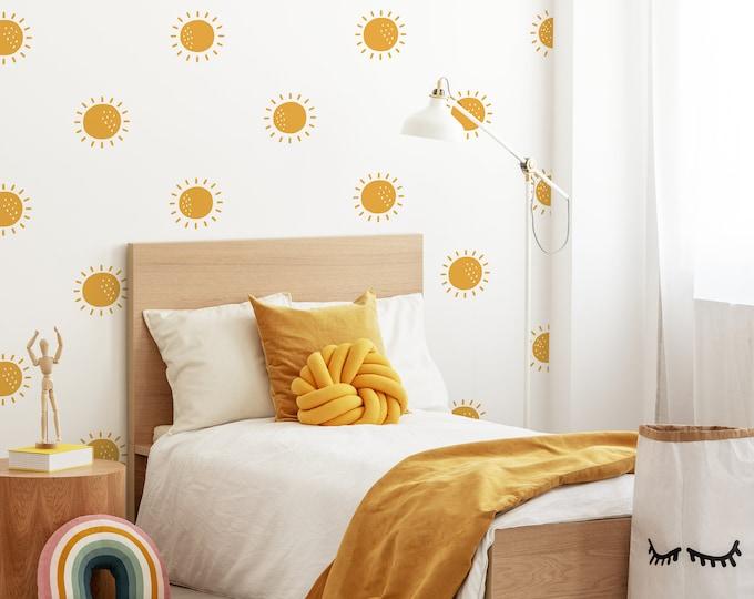 Sun Wall Decals - Sunshine Wall Stickers, Boho Nursery, Kids Room Wall Art, Playroom Decor