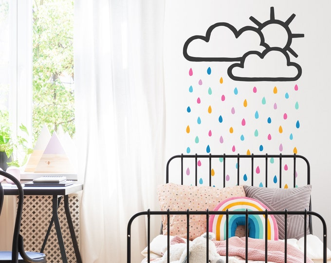 Sun and Rain Cloud Decal - Raindrop Wall Decals, Rainbow Wall Decor, Kids Room Decor, Nursery Wall Art, Gift for Home, Baby Shower Gift