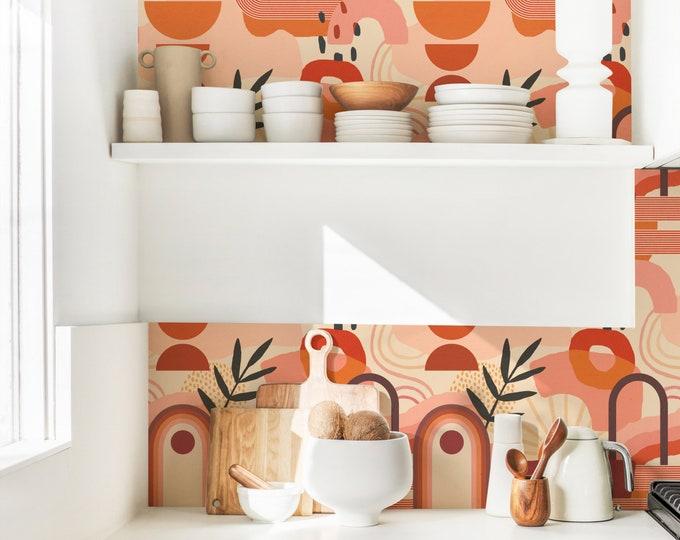Abstract Boho Wallpaper - Peel and Stick Removable Wallpaper, Bedroom Wall Decor, Geometric Art