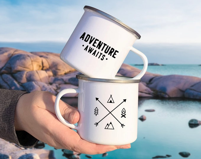 Adventure Awaits Camp Mug - Mug Gift, Adventure Gift, Wanderlust, Explorer, Adventure Quote, Camping Gift, Enamel Mug, Unique Gift, Travel