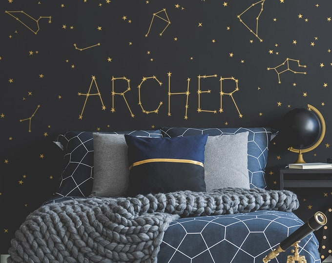 Custom Name Vinyl Decal, Personalized Name Vinyl Decal, Personalized Kids Name, Custom Kids Name, Custom Nursery Decal, Constellations Decal