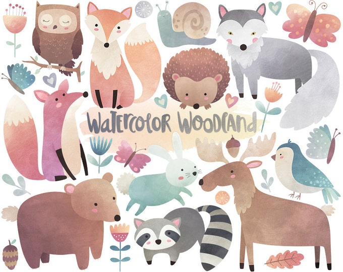 Watercolor Woodland Clipart - Watercolor Clipart, Woodland Clipart, Cute Woodland Animals, Nursery Printables, Digital Watercolor Art