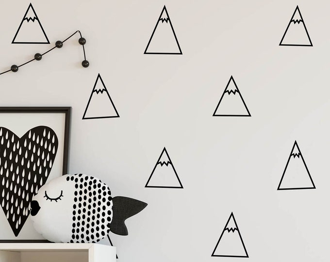 Mountain Wall Decals - Nursery Decals, Triangle Decals, Geometric Decals, Minimalist Wall Decor, Cute Tribal Wall Stickers