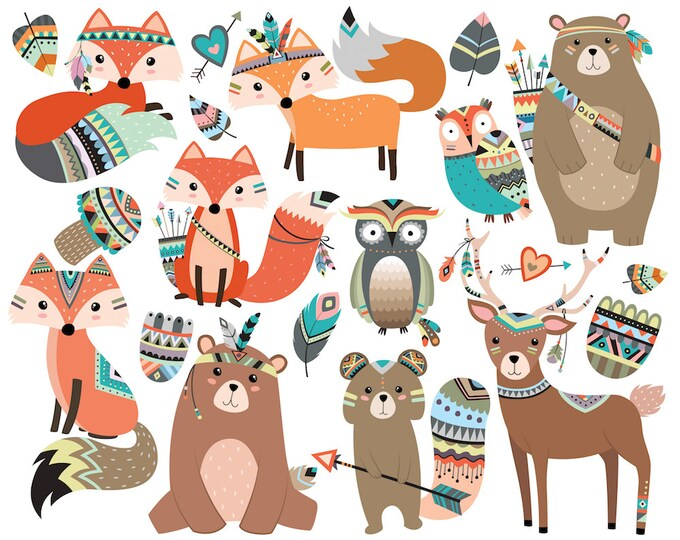 Woodland Tribal Animals Clipart Vol. 2 - Set of 19 Vector, PNG & JPG Files - Cute Forest Animal Clip Art, Fox, Owl, Deer, Rustic, Arrows Art