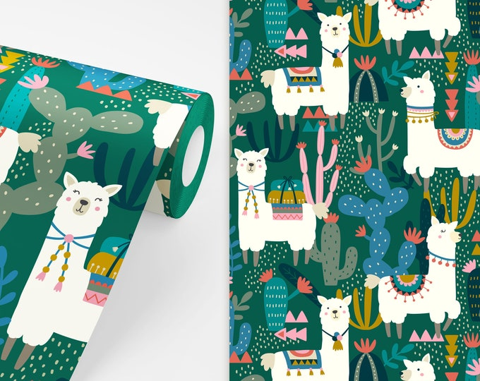 Alpaca Wallpaper - Peel and Stick Removable Wallpaper, Kids Room Wall Decor, Llama Art, Nursery Wallpaper, Cactus Wallpaper, Cactus Decor