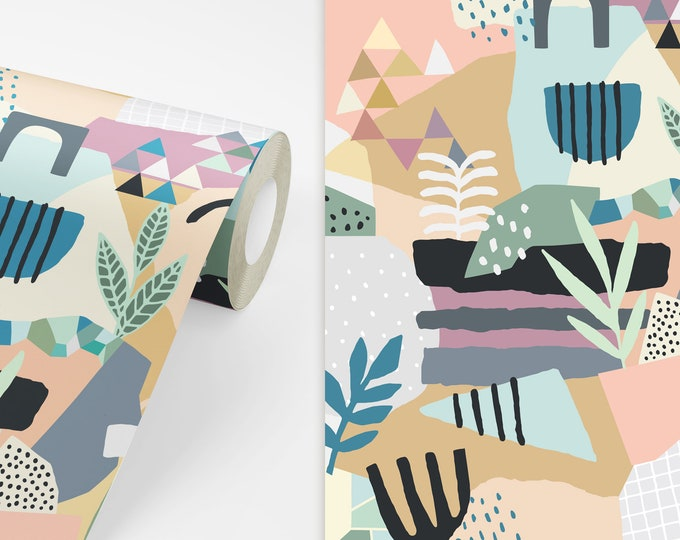 Abstract Pattern Wallpaper - Peel and Stick Removable Wallpaper, Bedroom Wall Decor, Geometric Art, Modern Wall Decor