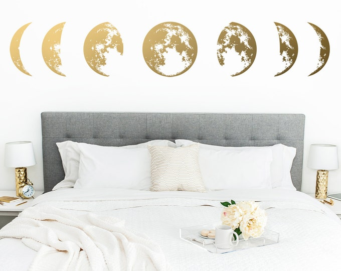 Moon Phases Wall Decal - Moon Phases Decor, Modern Decals, Moon Wall Decal, Moon Phase Wall Art