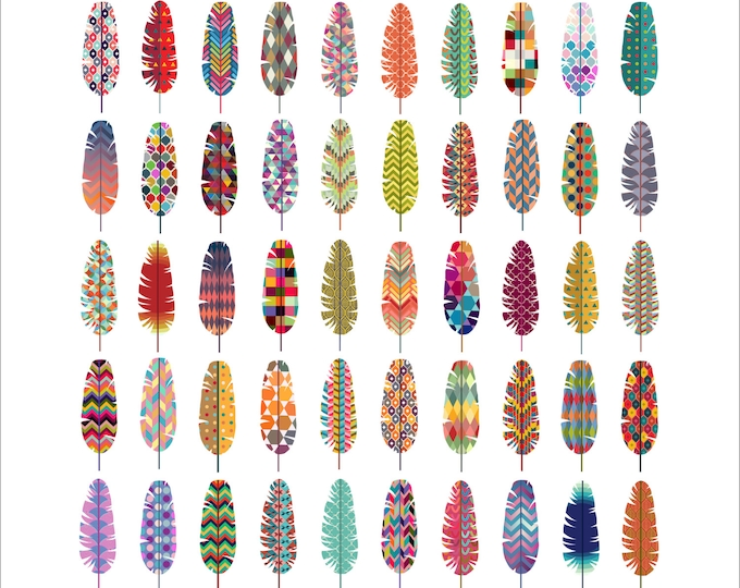 Patterned Feathers Clip Art- Set of 50 Colorful 300 DPI PNG, JPG, and Vector Files