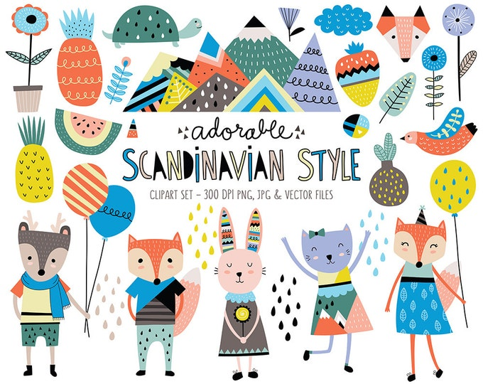 Cute Animals Clip Art Set - Scandinavian Style Clipart Design Elements - Unique Digital Clipart, Instant Download, Personal & Commercial Use