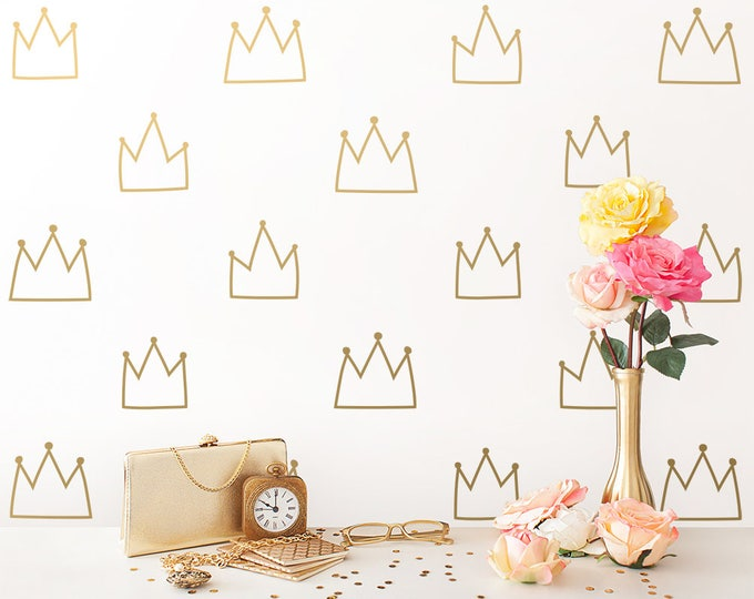 Crown Wall Decals - Kids Room Decals, Nursery Wall Decals, Gold Wall Stickers, Removable Wall Decals, Vinyl Wall Decals, Crown Wall Decor
