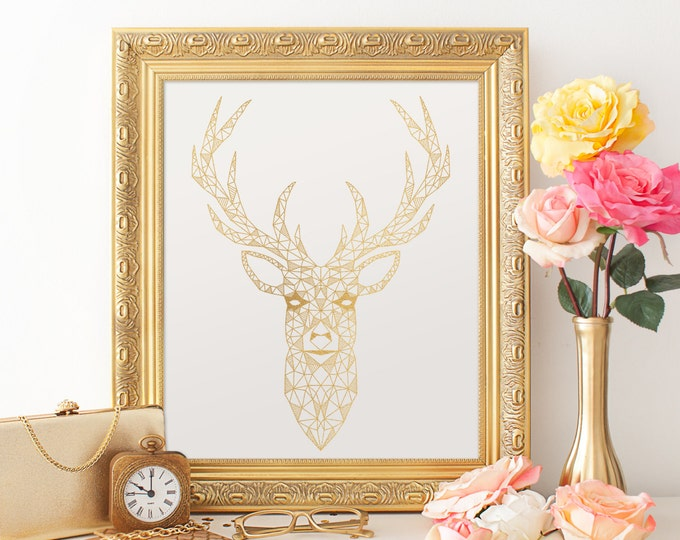 Geometric Deer Digital Print - 8X10 Gold Digital Print, Gold Foil Texture, Geometric Wall Decor, Instant Download Gold Printable