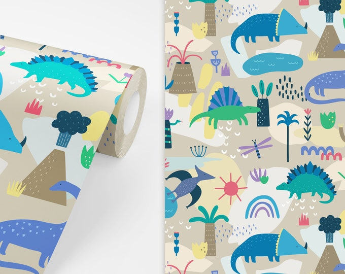 Dinosaur Wallpaper - Peel and Stick Removable Wallpaper, Nursery Wall Art, Dinosaur Decor, Dinosaur Art for Kids Bedroom