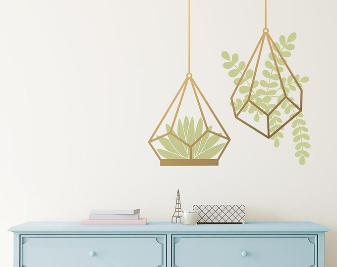 Succulent Wall Decals - Cactus Decals, Terrarium Wall Decal, Modern Decals, Vinyl Wall Decals, Unique Wall Decor