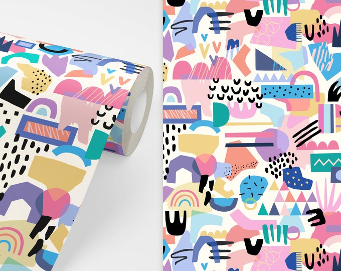 Abstract Pattern Wallpaper - Peel and Stick Removable Wallpaper, Bedroom Wall Decor, Geometric Art