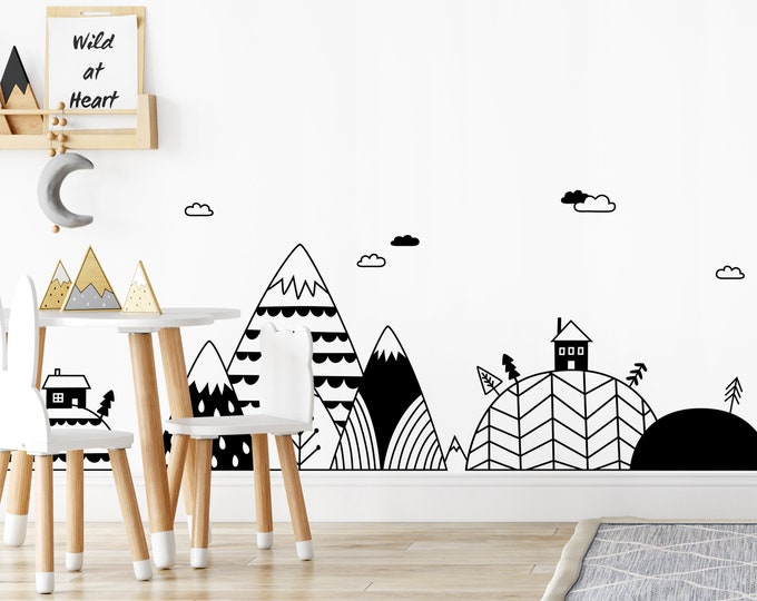Scandinavian Mountains and Hills Decal Set - Mountains Wall Mural, Nordic Mountains, Mountain Village Decal, Baby Gift, Nordic Village Decal