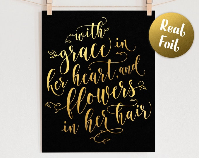 Foil Wall Art Quote - Real Foil Print, Gift for Her, Gold Foil Wall Art, Home Decor Print, Quote Print, Nursery Wall Art, Nursery Decor