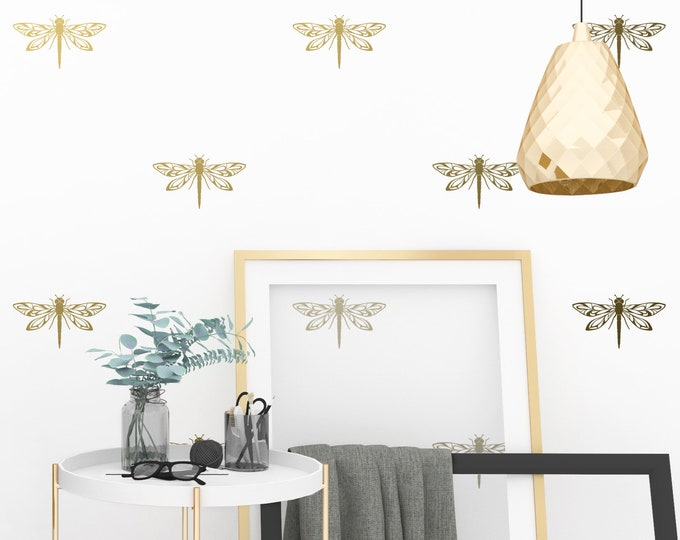 Dragonfly Wall Decals - Modern Wall Stickers, Gold Wall Decals, Dragonfly Decals, Unique Wall Decor