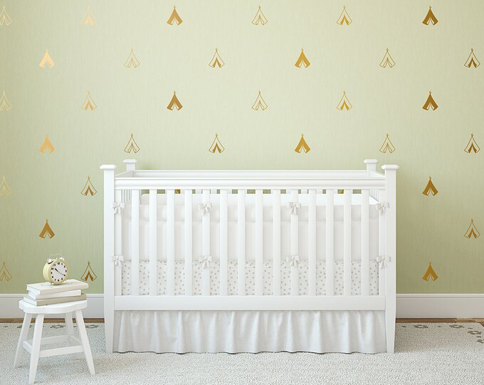 Teepee Wall Decals - Adorable Nursery Vinyl Decals - Gold Wall Decals, Modern Unique Decals, Tribal Nursery Decor for Gifts and More!