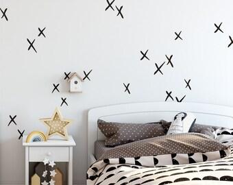 X Wall Decals   Hand Drawn X Decals, Nursery Wall Decals, Cross Decals,  Scandinavian Decals, Kids Room Decals, Scandi Nursery, Minimalist