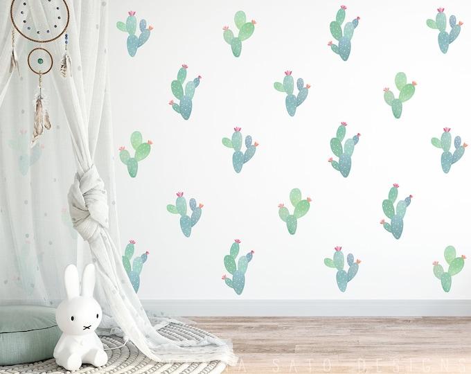 Watercolor Cactus Decals - Reusable Wall Decals, Nursery Decals, Cactus Wall Decal, Cactus Art, Cactus Decor, Nursery Decor, Kids Room Decor