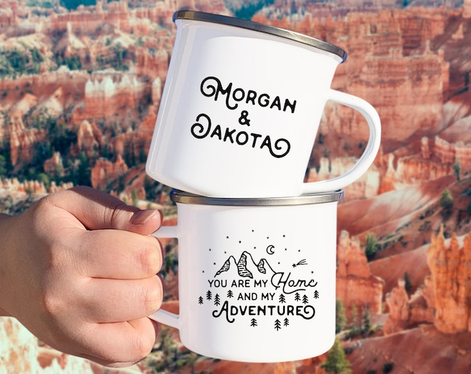 Personalized Camp Mug - Custom Name Mug, Personalized Mug, Camping Gift, Personalized Gift, Custom Gift, Wanderlust, Adventure Couple Gift