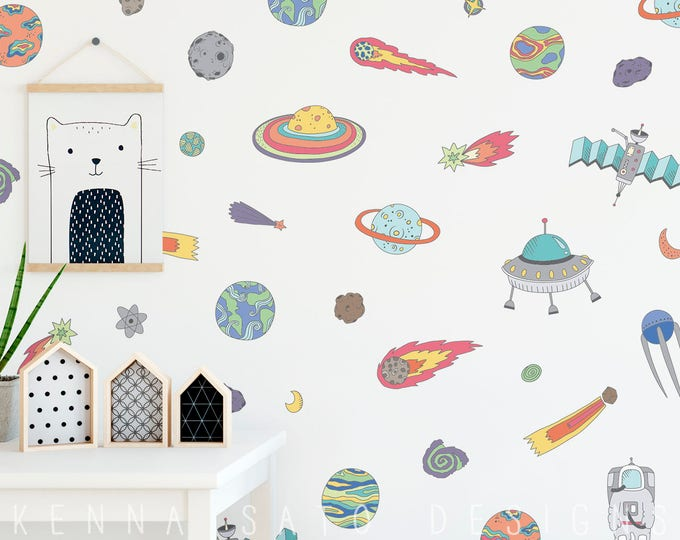 Wall Decals - Outer Space Wall Decals - Wall Decor, Planet Decals, Nursery Decor, Gift for Kid, Star Decal, Reusable Wall Decals, Kids Room