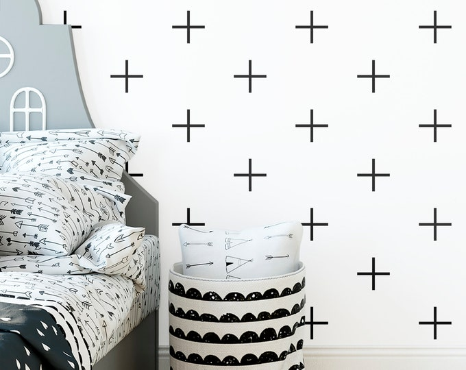 Geometric Wall Decals - Nursery Decals, Cross Decals, Scandinavian Decor, Kids Room Decor, Nursery Decor
