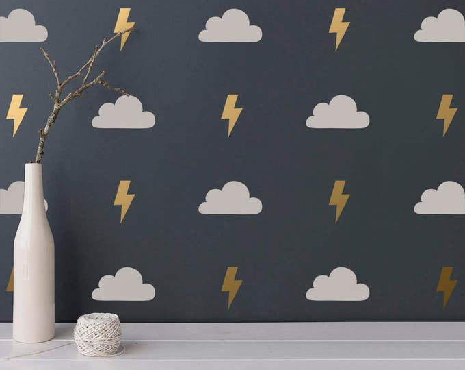Cloud and Lightning Wall Decals - 2-Color Wall Decals, Cloud Decals, Lightning Bolt Decals, Cloud Wall Stickers, Modern Vinyl Wall Decals