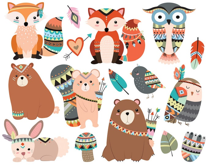 Woodland Tribal Animals Clipart - 300 DPI Vector, PNG & JPG Files - Cute Forest Animals, Fox, Owl, Tribe Clip Art