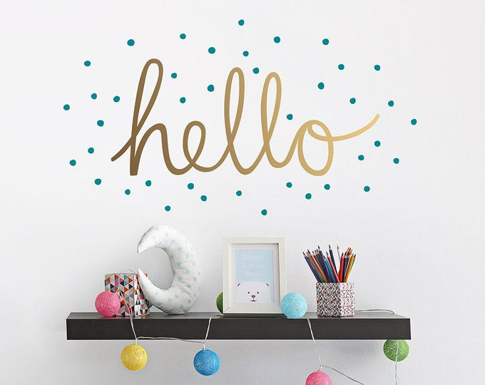 Hello Wall Decal - Hand Drawn Vinyl Wall Decal, Confetti Wall Decal, Cute Wall Quote Sticker, Nursery Wall Decal, Kids Bedroom Wall Decal