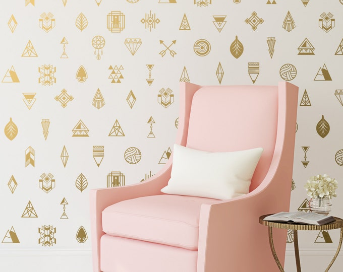 Tribal Wall Decals - Gold Vinyl Decals, Bedroom Decals, Tribal Decals, Nursery Decor, Wall Stickers, Unique Wall Decals for Gifts and More!