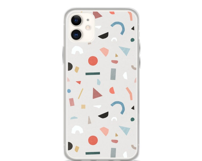 iPhone Case - Terrazzo Pattern Phone Case in Grey