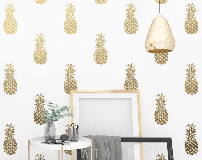 Pineapple Decals - Pineapple Decor, Wall Decor, Gift for Her, Gift, Pineapple Wall Decal, Vinyl Decal, Pineapple Wall Art, Gift for Daughter