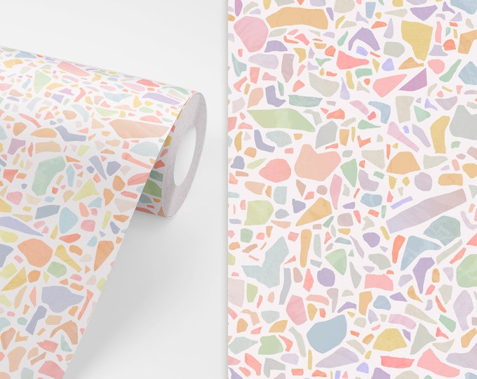 Terrazzo Pattern Wallpaper - Peel and Stick Removable Wallpaper, Modern Bedroom Wall Decor, Geometric Art, Eclectic Home Decor