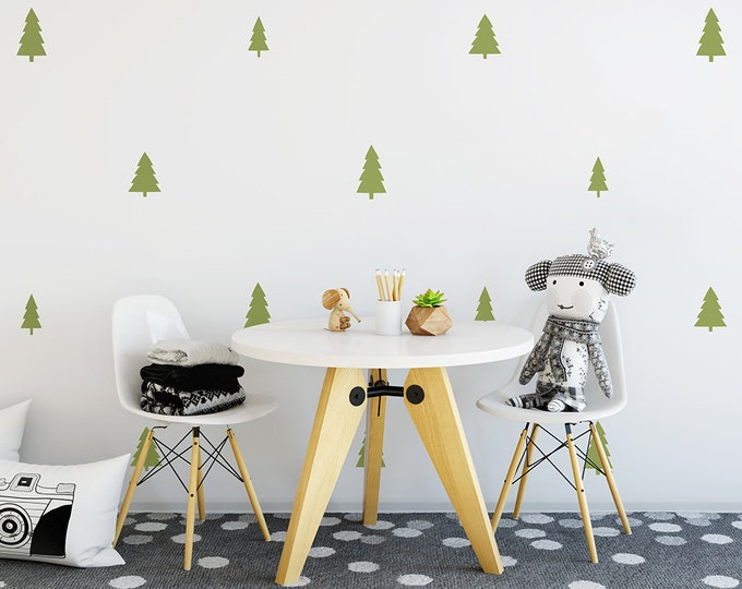 Tree Wall Decals - Woodland Nursery Decals, Pine Tree Decals, Forest Wall Decals, Kids Wall Stickers