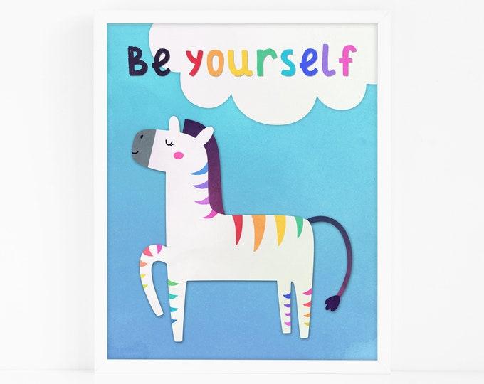 Zebra Art Print - Be Yourself Print, Nursery Art, Watercolor Wall Art, Wall Decor, Kids Art Print, Kids Bedroom Decor