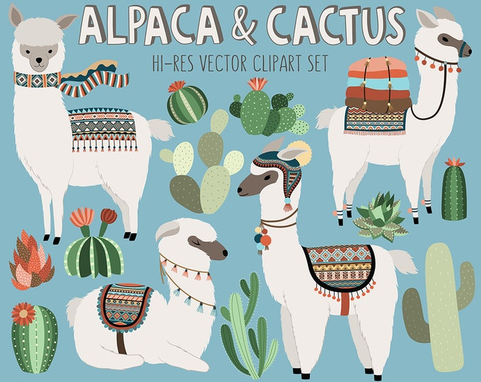 Cactus and Llama Clipart - Adorable Alpaca and Desert Vector Clip Art Set - Digital Design Elements with Unique Tribal Patterns