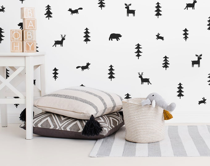 Woodland Wall Decals - Woodland Nursery Wall Stickers, Nursery Decals, Forest Decals, Tree Wall Decals, Animal Decals